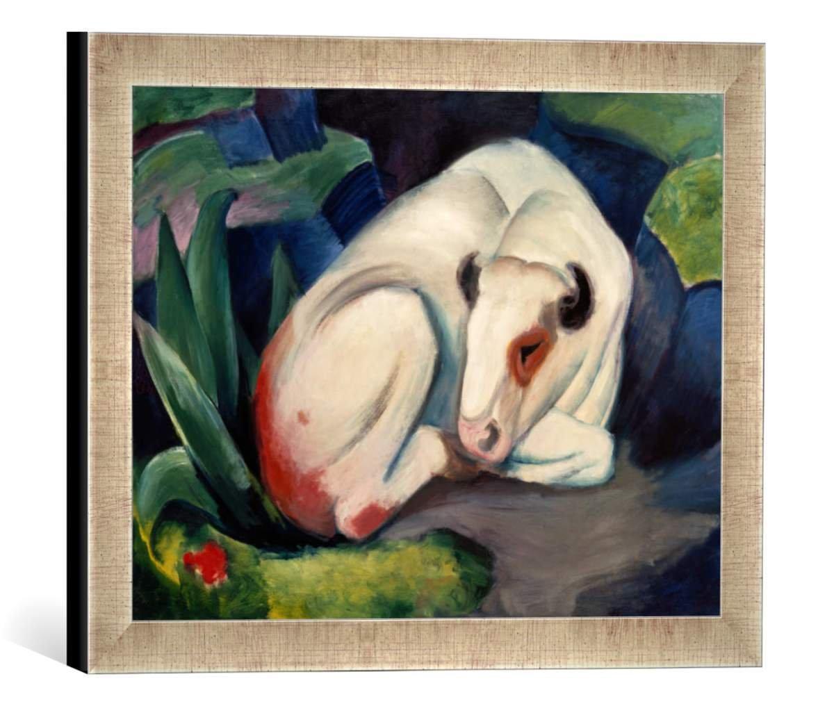 Gerahmtes Bild von Franz Marc Stier, Kunstdruck im hochwertigen handgefertigten Bilder-Rahmen, 40x30 cm, Silber Raya