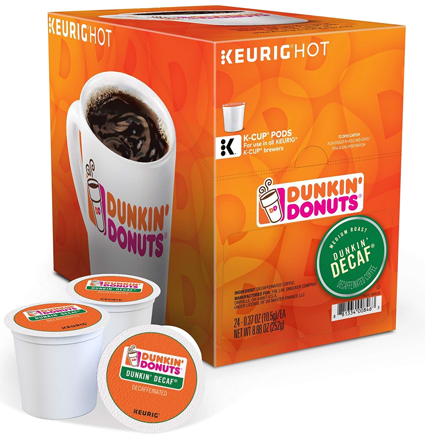 Dunkin Donuts Dunkin Decaf K-Cups (72 Count) with Bonus K-Cups