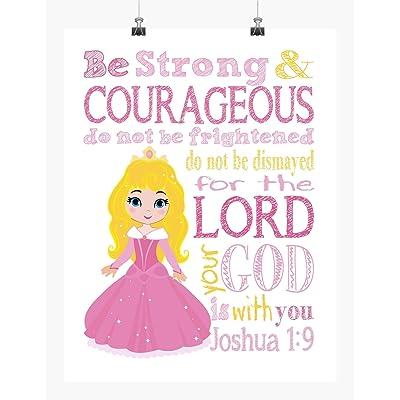 Sleeping Beauty Aurora Princess Inspirational Nursery Decor Wall Art Print - Be Strong & Courageous Joshua 1:9: Handmade