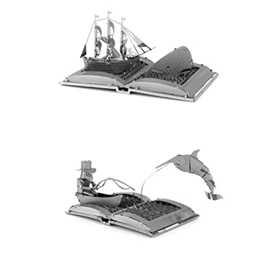 fascinations Metal Earth Book Sculpture 3D Metal Model Kits - Moby Dick & The Old Man and The Sea - Set of 2: Toys & Games
