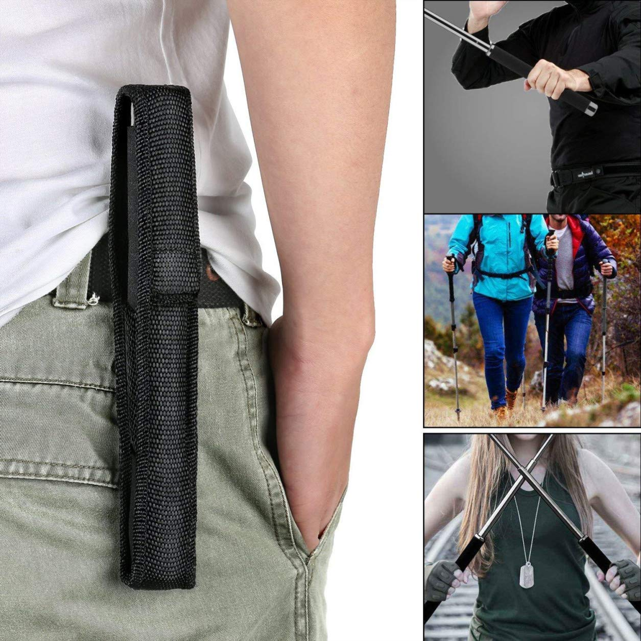 OLPJKHN 26 inches Extensible Baton and Baton Holder 100/% Nylon Emergency Outdoor Escape Tool Applicable to Men and Women