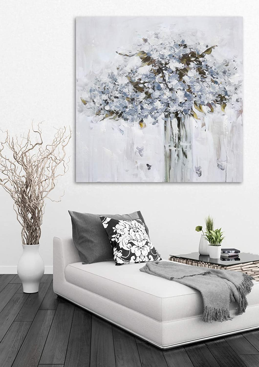 Large Flower Canvas Wall Art for Home Decor, Blue Color Pottery Vase Blossom Oil Paintings, 3D Hand Painted Modern Floral Pictures for Living Room, Framed and Stretched Ready to Hang 28x28 inch