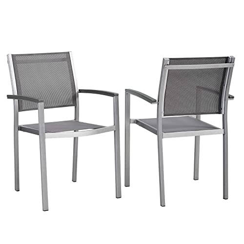 Modway EEI-2586-SLV-GRY-SET Shore Dining Chair Outdoor Patio Aluminum Set of 2 in Silver Gray, Two