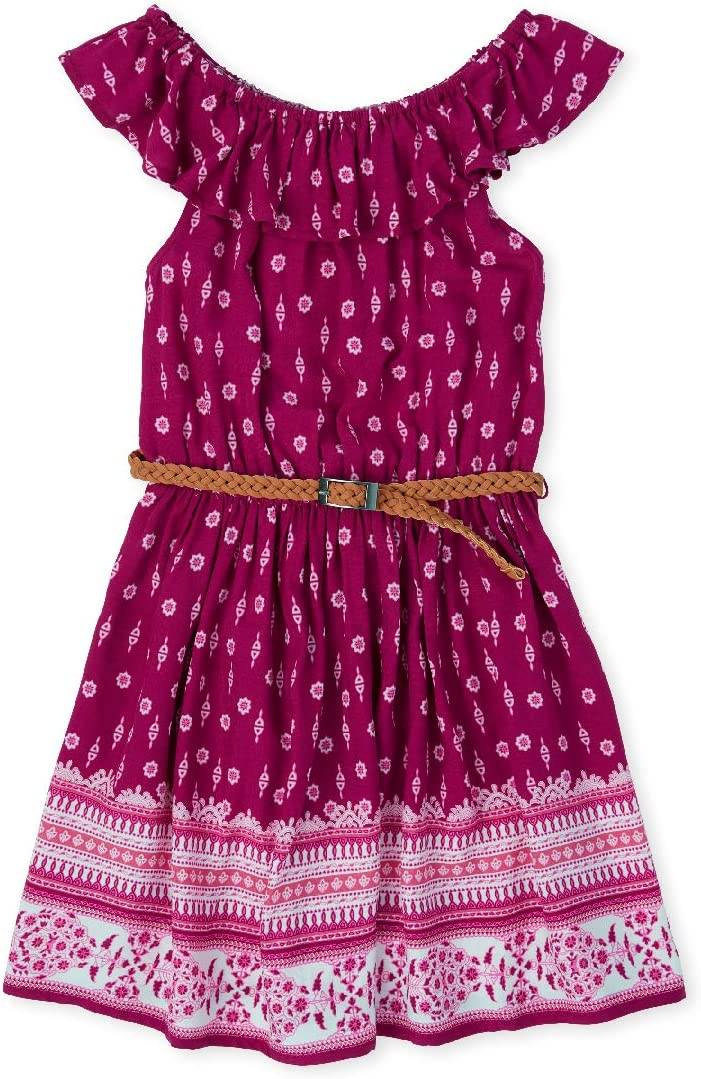 The Children's Place Girls' Cold Shoulder Ruffle Belted Dress