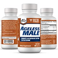 Ageless Male Free Testosterone Booster for Men - Promote Lean Muscle Mass w/Strength Training, Healthy Energy Production, Drive, Stamina, Enhancement, Health Supplement (60 Tablets, 1-Bottle)