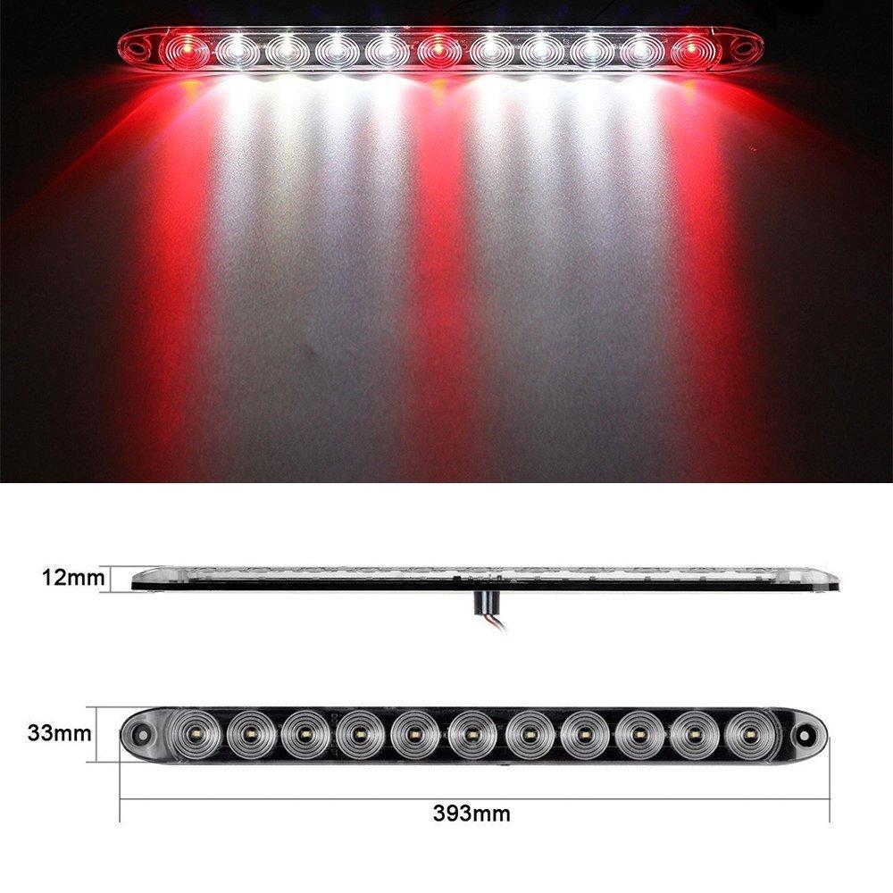 haichen 38,1/cm 11/LED drittes Bremslicht Bar Stop Drehen R/ücklicht Wasserdicht Trailer Truck wei/ß//rot