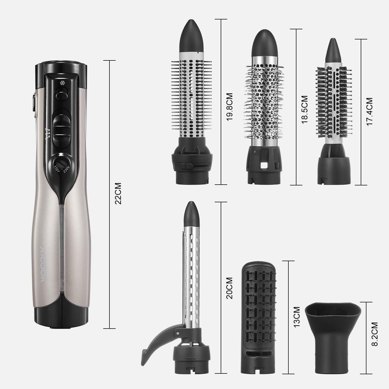 Cepillo Rotativo de Aire Aicook, Cepillo eléctrico multifuncional 6 en 1, secador de cabello y rizador de doble voltaje para viajes, función de iones ...