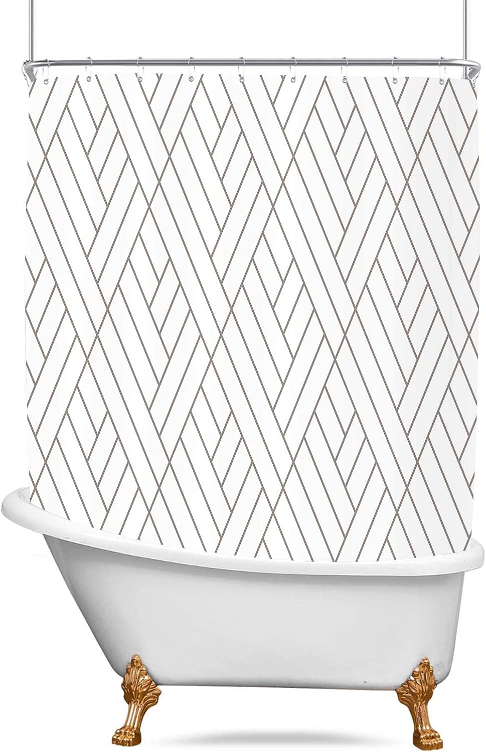 D&M Clawfoot Tub Shower Curtain Liner 180x70 inch 36 Metal Shower Hooks Striped Geometric Extra Wide Wrap Around Lines White and Gray Bath Shower Curtain for Bathroom Bathtub Decor Polyester Fabric