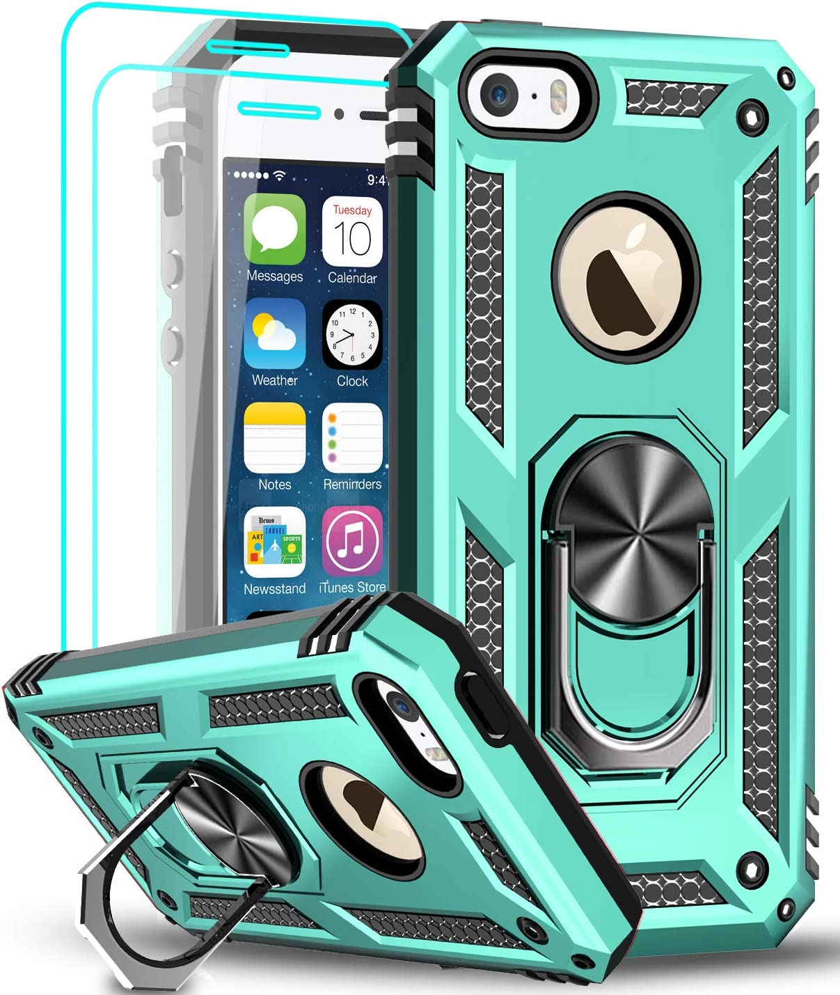 LeYi iPhone se Case (2016), iPhone 5s Case, iPhone 5 Case, Military Grade Armor Full-Body Hybrid Dual Layer Protective Phone Cover Case with Degree Rotating Holder Kickstand for iPhone 5/5s/se, Mint