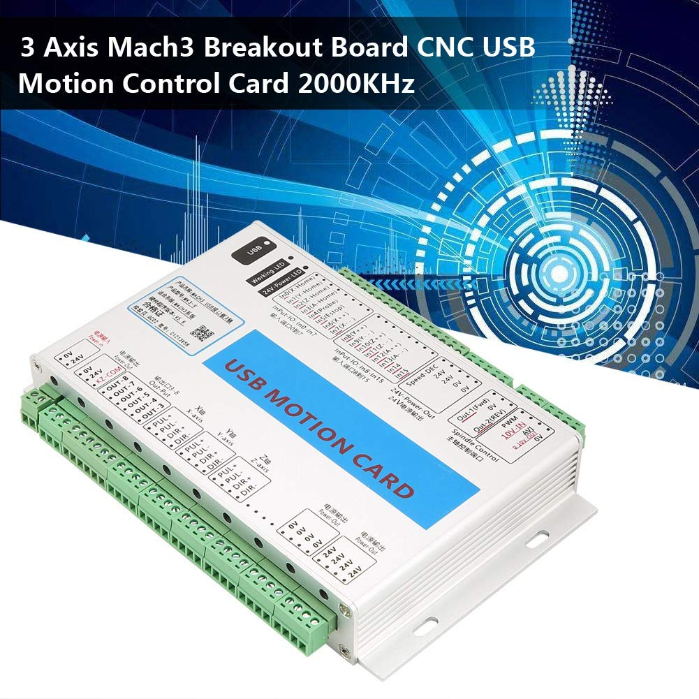 ZJchao Mach3 Motion Card, Aluminum Case Shielding Interference Stable and Reliable 3 Axis Mach3 Breakout Board CNC USB Motion Control Card 2000KHz by ZJchao (Image #2)