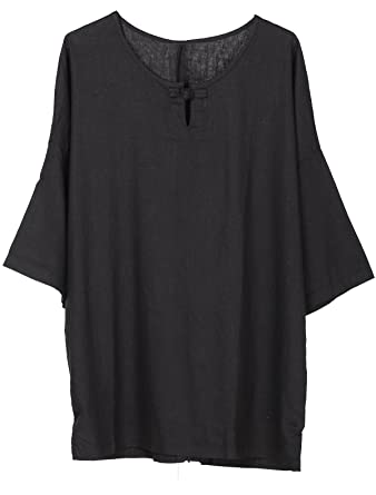 6a73547b495d6 Minibee Women s Elbow Sleeve Linen Tunic Tops Solid Color Retro Blouse  Black L