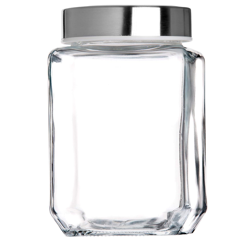 herm/ético Recipiente de Cristal para Alimentos Tarro para Pasta Transparente Tarro para conservas 500 ml Vidrio Blanco KADAX Espaguetis Tarro de Cristal con Tapa de pl/ástico Especias