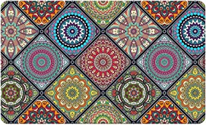 """QIYI Floor Comfort Mat 1 Piece Kitchen Rug PVC Leather Waterproof Oil Proof Runner Rug Non Skid Laundry Standing Mat Anti Fatigue Foam Cushioned Area Doormat 17"""" W x 29"""" L - Ethnic Traditional Pattern"""