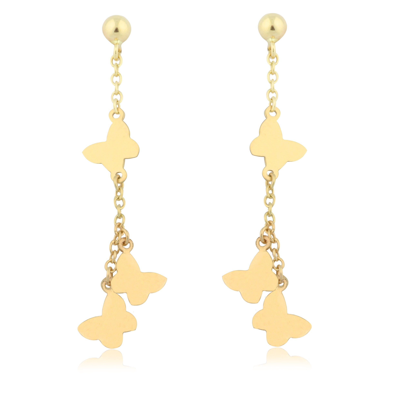 UNICORNJ Adult Tweens Teens 14k Yellow Gold Polished Multiple Butterfly Long Dangle Post Earrings