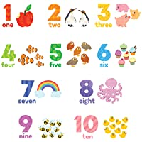 DECOWALL DWL-2020 Numbers Wall Stickers Wall Decals Peel and Stick Removable Wall Stickers for Kids Nursery Bedroom…