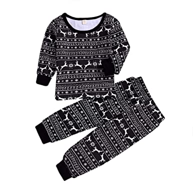 01f1453f216b Amazon.com  Matching Family Pajamas Set Christmas Deer Print T Shirt ...