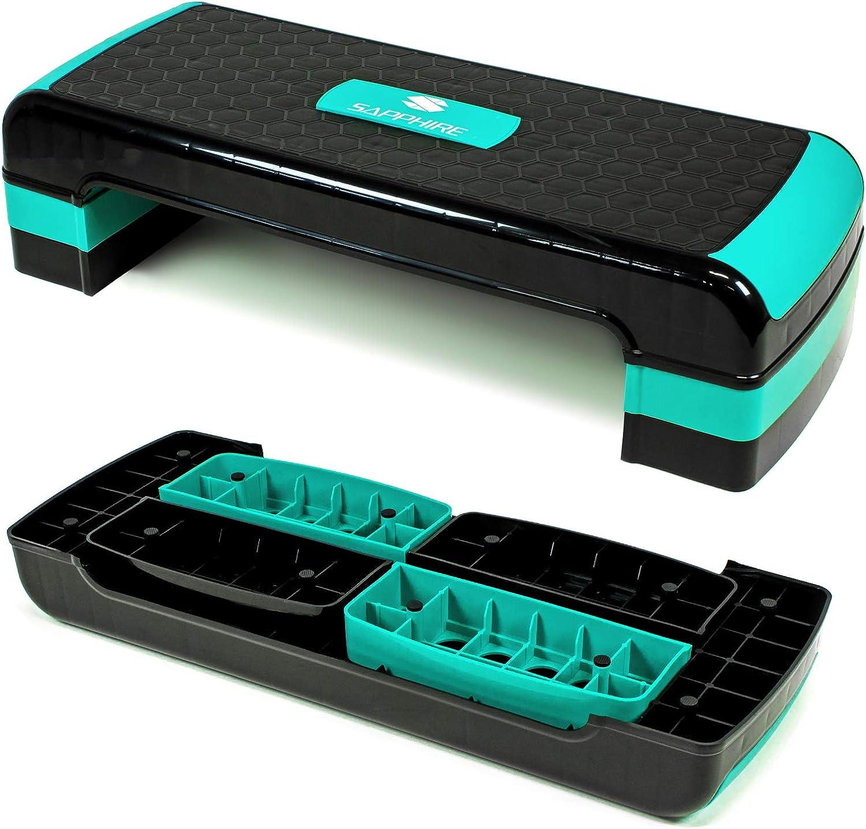 Xylo Sapphire Aerobic Steppbrett 3-Stufen höhenverstellbar Stepper Step-Bench Home-Stepper Steppbank Gymnastik Muskulatur Fitnessboard Fitness Fettverbrenung XG-047: Amazon.de: Sport & Freizeit -