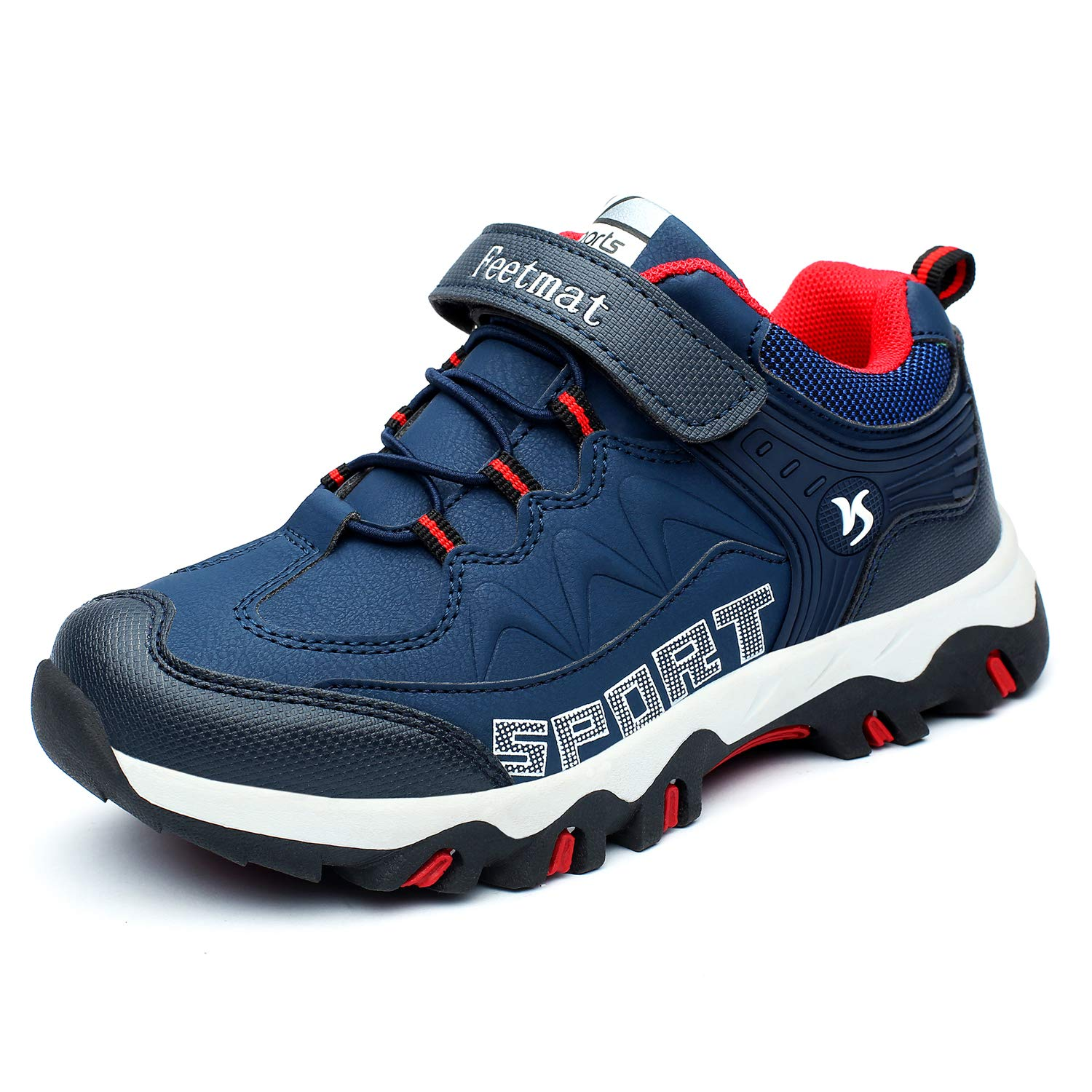 MARSVOVO Boy's Shoes Waterproof Hiking Shoes Walking Running Sneakers Navy Blue Size 5