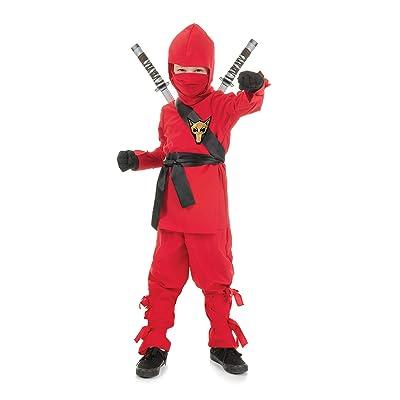 UNDERWRAPS Costumes Big Boy's Children's Red Ninja Costume, Small 4-6 Childrens Costume, red, Small: Clothing