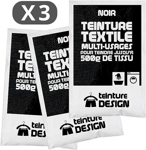 Lot de 3 sachets de Teinture Textile - NOIR - teintures ...