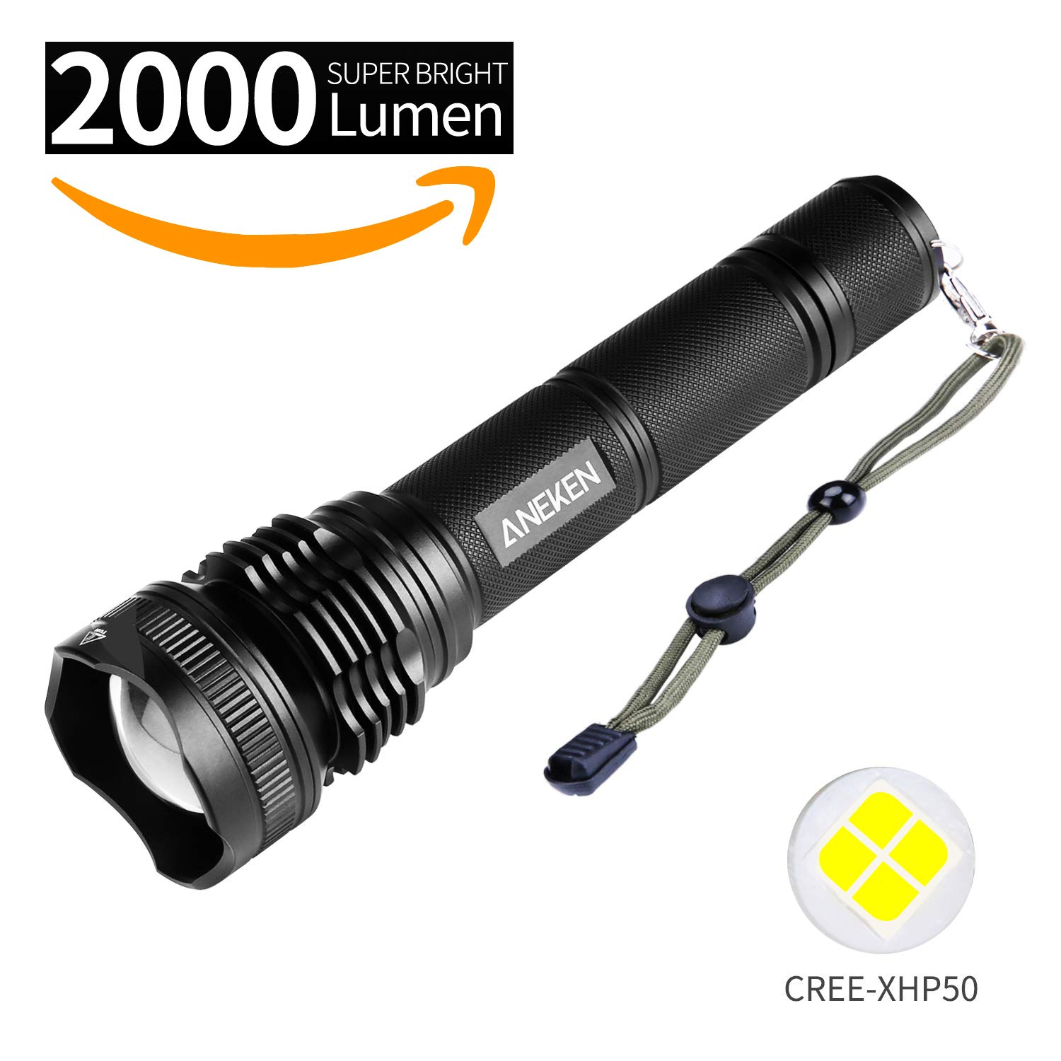 LED Portable Ultra Bright Handheld Flashlight, ANEKEN 2000LM Outdoor Water Resistant Torch IPX4 Zoomable 1000 Meters Torchlight, 5 Light Modes for Camping Hiking and Home Emergency (Battery Included)