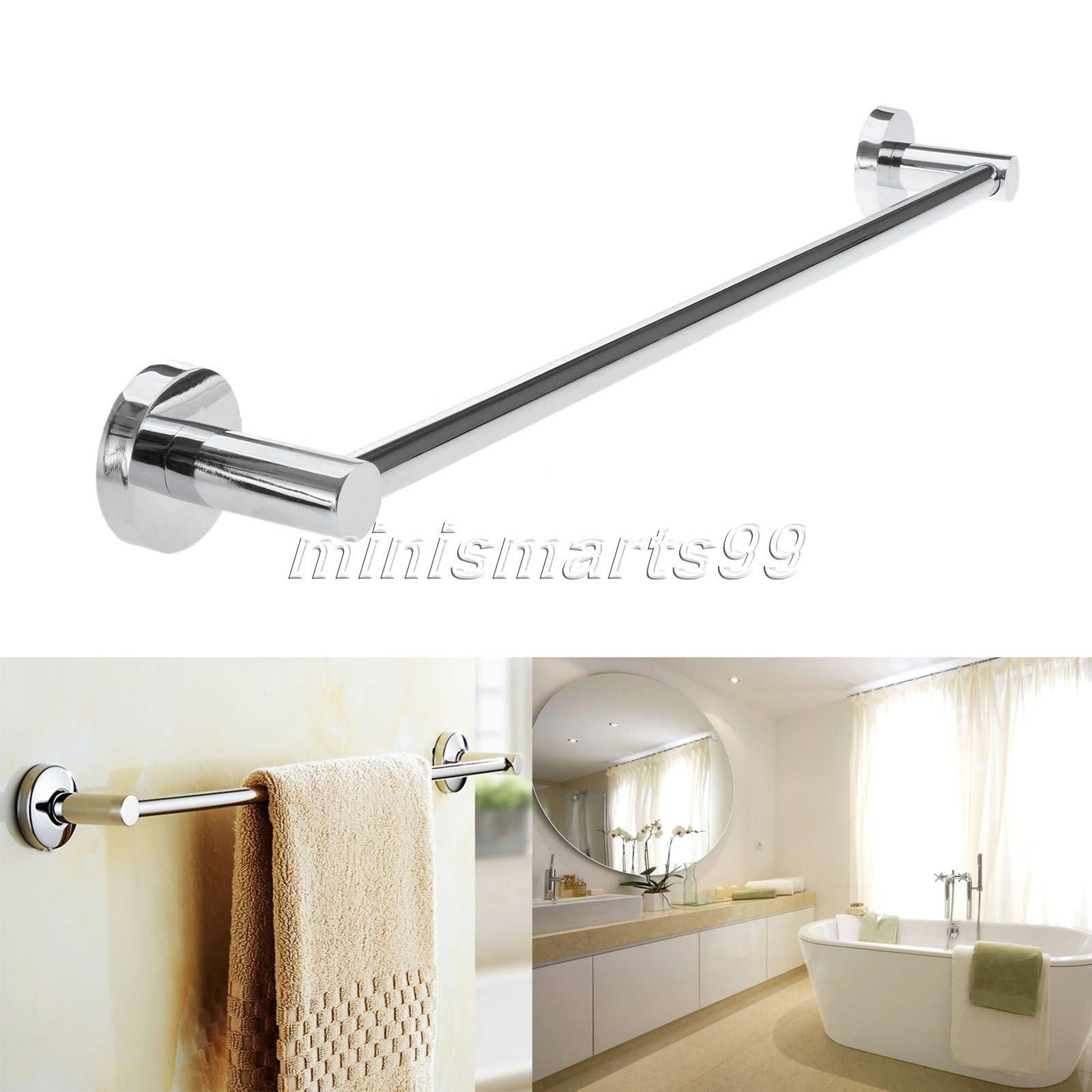 Cacys Store 60cm Steel Towel Rack Holder Wall-Mounted Bathroom Towel Holders Single Pole Towel Bars Bath Storage Shelf Bathroom Accessories
