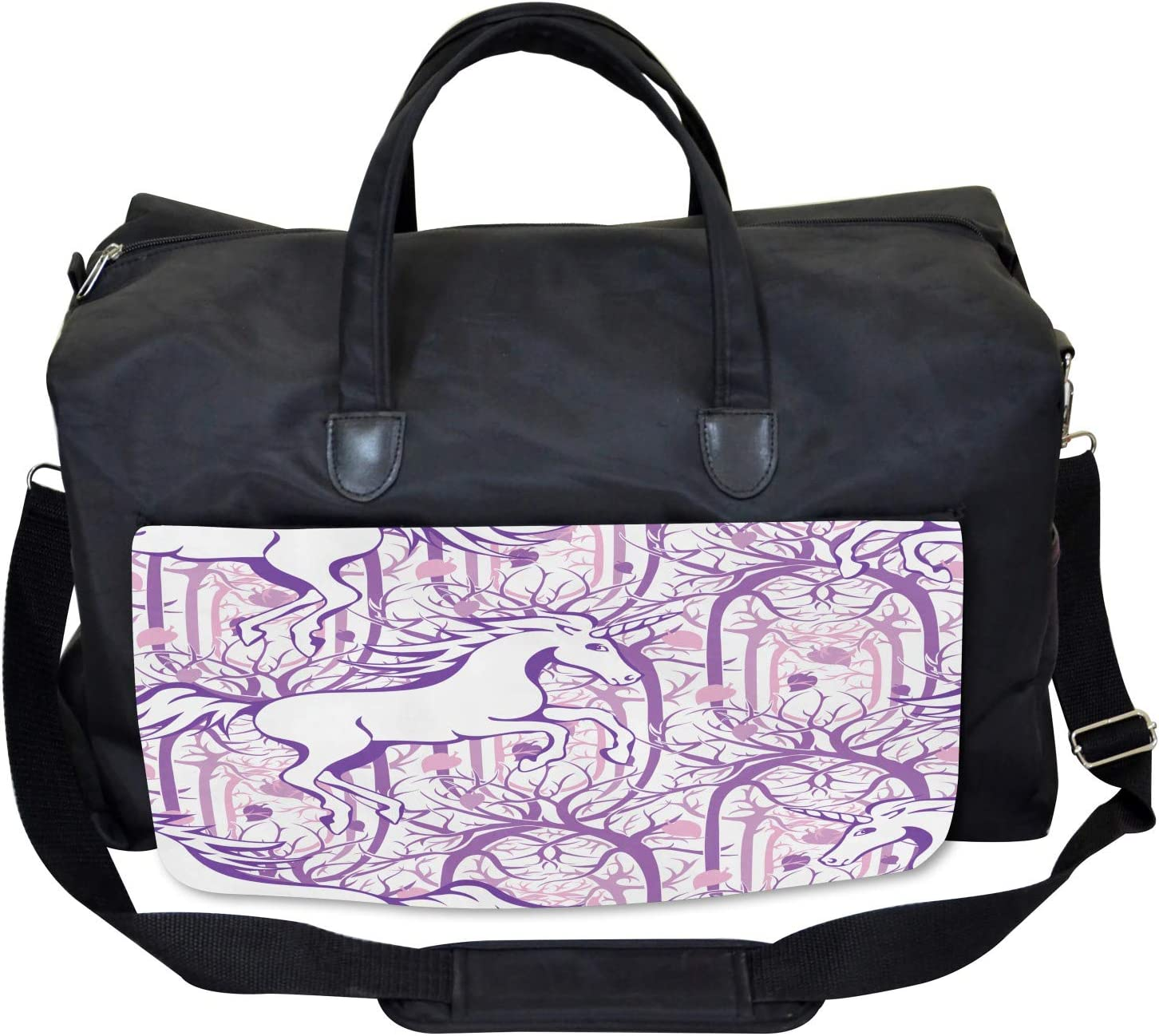 Large Weekender Carry-on Magic Fairytale Forest Ambesonne Unicorn Gym Bag