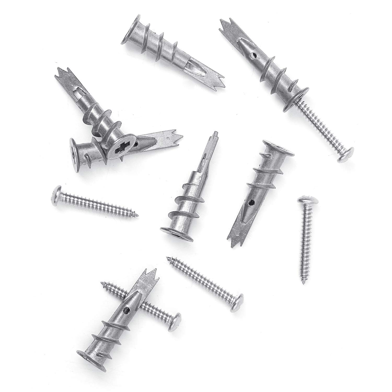 120 kits de anclajes de pared hueca Self Drywall de metal con tornillos de acero inoxidable NINDEJIN Anclaje de esta/ño con tornillos