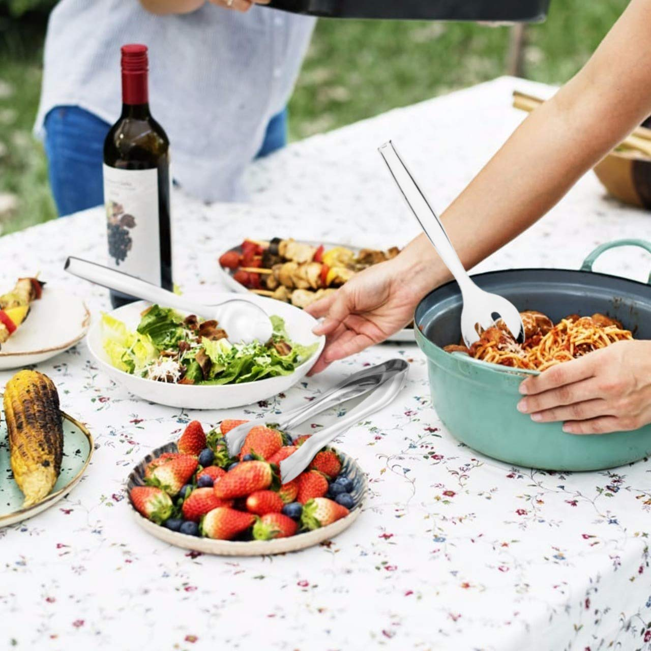 Disposable Serving Utensils Silver /… Plastic Serving 10 Spoons 10 Forks /& 6 Tongs 6 Of Each Pack of 18