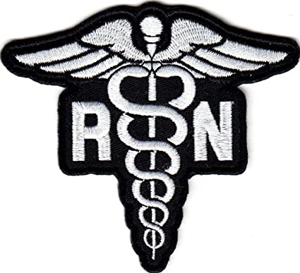 White Medical//Nursing Caduceus Iron on Applique//Embroidered Patch