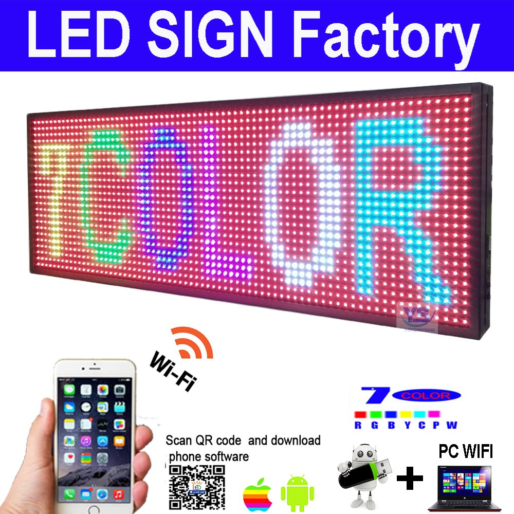 Scrolling LED Sign size 39'' x 14'' RGB 7 COLOR Programmable led advertising board with for indoor and Outdoor use led display by szyishang (Image #1)