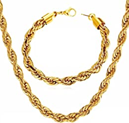 Cadenas De Titanium Enchapada en Oro Gold Plated Necklace & Bracelet Set CA0010