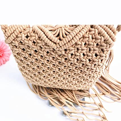 Bolso de playa estilo bohemio, hecho a mano, para mujer. Cosido en ganchillo