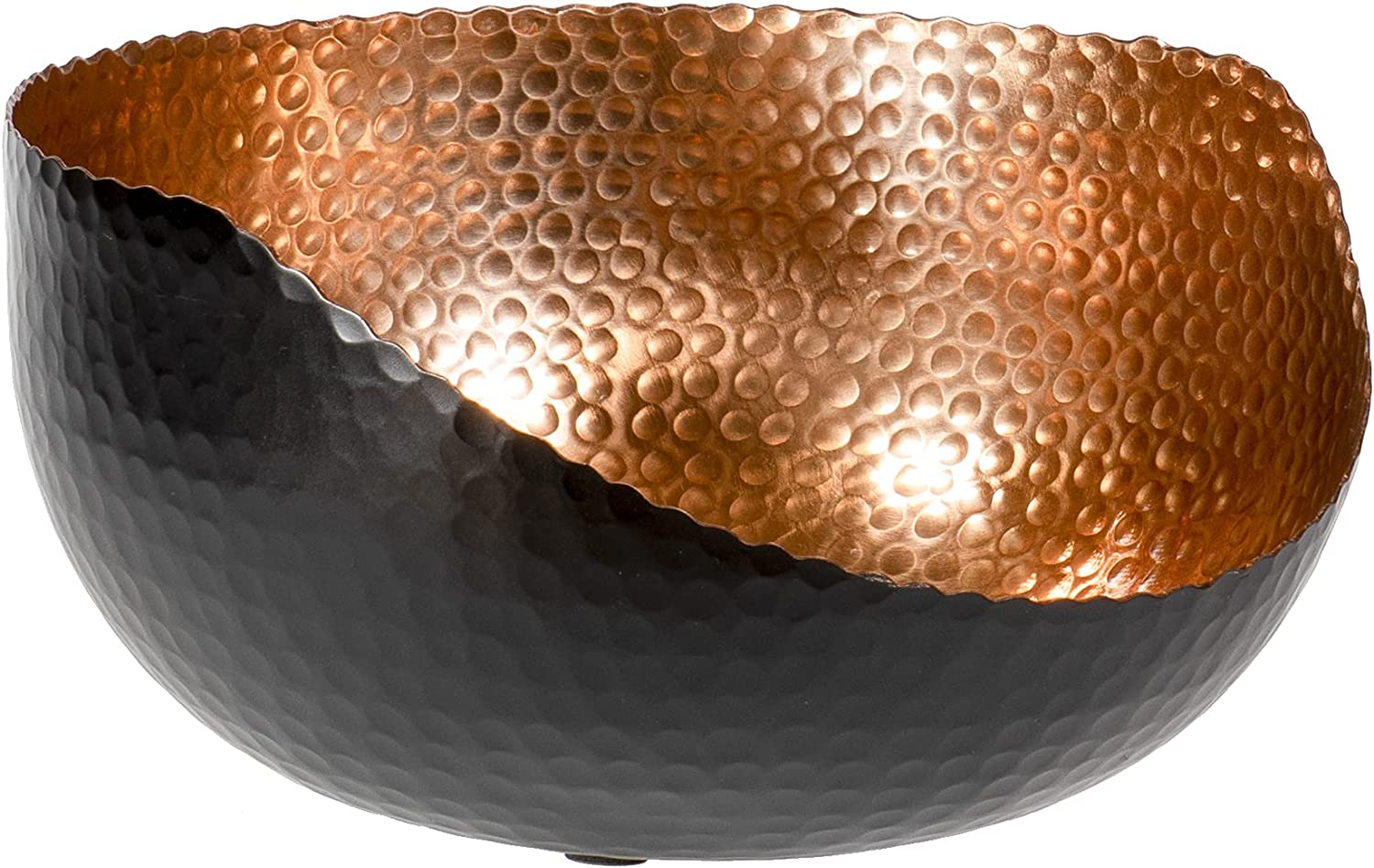 Red Co. Modern Round Decorative Hand-Hammered Slant-Cut Centerpiece Bowl for Home and Kitchen Décor, Black/Copper, Large – 10 Inches
