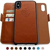 Dreem iPhone X [10] Wallet Case, Magnetic Detachable Slim-Case, Fibonacci Luxury Vegan Leather, RFID Protection - Caramel Brown