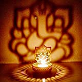 eCraftIndia Lord Ganesha Metal Tea Light Holder (8 cm x 8 cm x 11 cm, Gold, ATLG001)