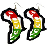Africa Map Earrings Wooden Jewelry To Compliment Ankara Fashion For Women And Girls