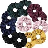 12 Pcs Satin Ponytail Scrunchies Ties for Women Girls Holders Soft Hair Elastics Vintage Hair