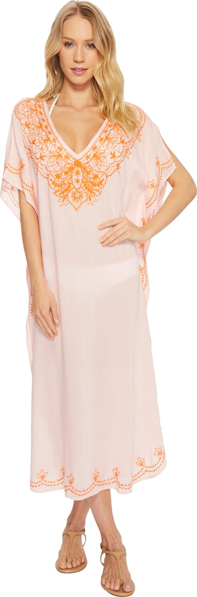 Echo Design Women's Embroidered Maxi Caftan Rose Pink Small