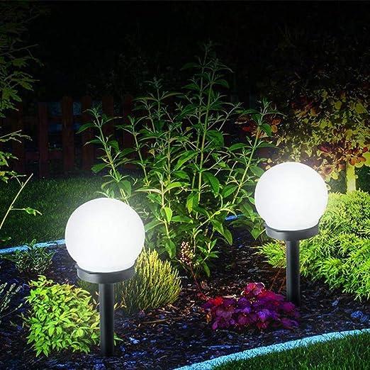 Mobestech 2 Piezas de Luz de Estaca de Jardín Solar Bombilla Redonda Simple Ahorro de Energía Luz de Camino de Piso Al Aire Libre para Césped Patio Patio Patio Patio: Amazon.es: Iluminación