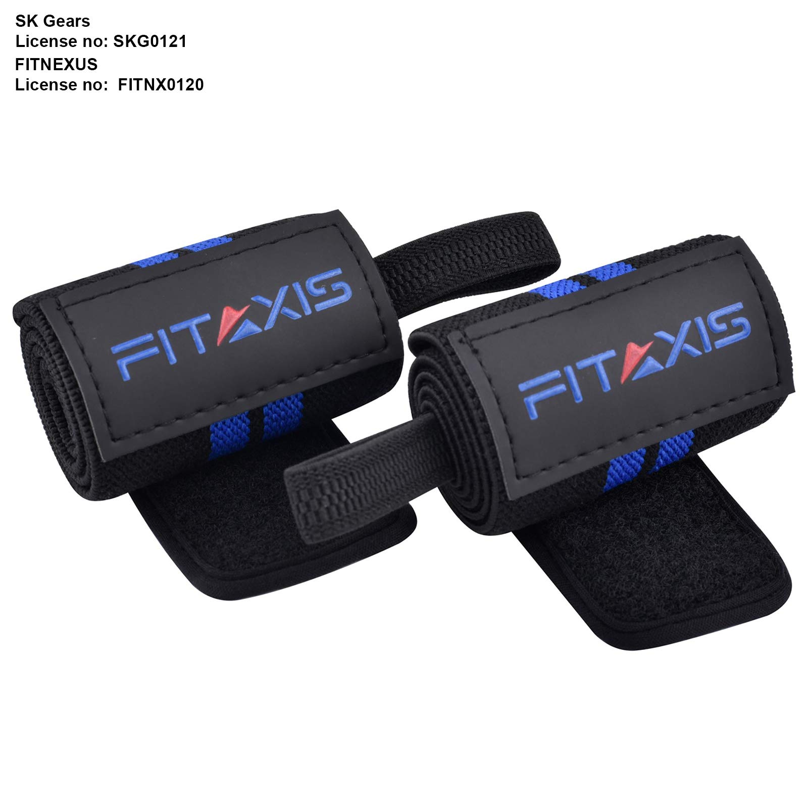 FITAXIS Wrist Wraps, Weight Lifting Hand Grip Gym Straps| Premium Cotton Pair - 1 Size Fits to All - 18