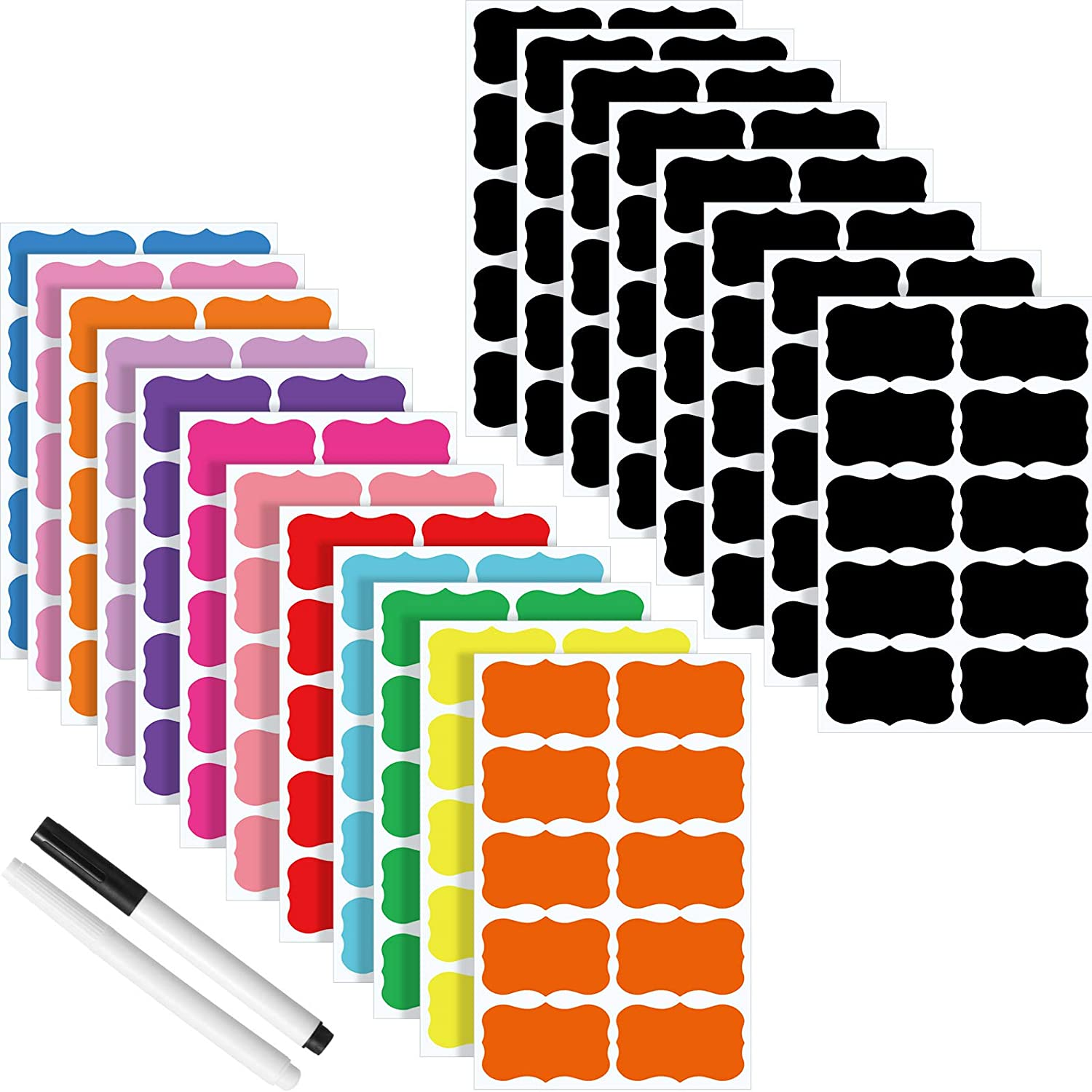 160 Pieces 13 Colors Chalkboard Labels Reusable Blackboard Stickers Colored Chalk Board Jar Labels with 2 Erasable Chalk Pen for Decorating Parties, Craft Rooms, Weddings, Store and Kitchen