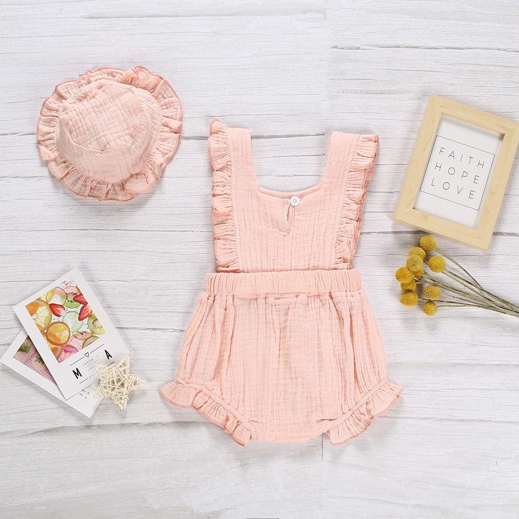 Hat Outfit Set 12-24 Months, Yellow Toddler Baby Kids Girls Romper Newborn Girl Sleeveless Solid Flowers Ruched Ruffle Jumpsuit Bodysuit Gallity Hot Sale