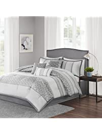 Madison Park Bennett Queen Size Bed Comforter Set Bed In A Bag   Grey,  Jacquard