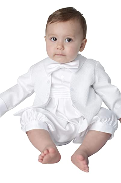 97c611e2d Vivaki Oliver Christening Romper in White (0/3 Months): Amazon.co.uk:  Clothing