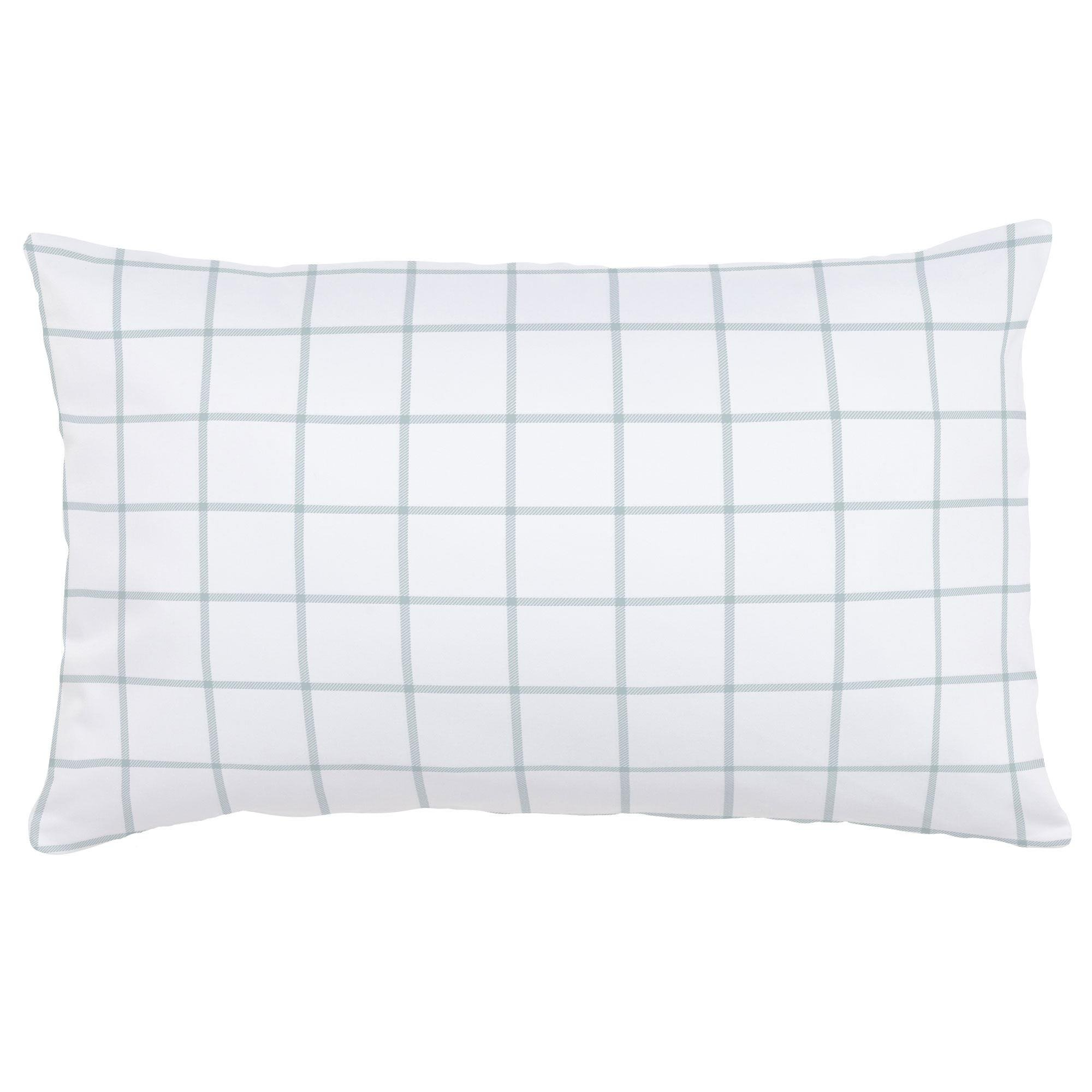 Carousel Designs Robins Egg Blue Windowpane Lumbar Pillow - Organic 100% Cotton Lumbar Pillow Cover + Insert - Made in The USA
