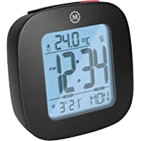 Marathon Small Compact Alarm Clock with Repeating Snooze, Light, Date and Temperature. Batteries Included. Marathon…