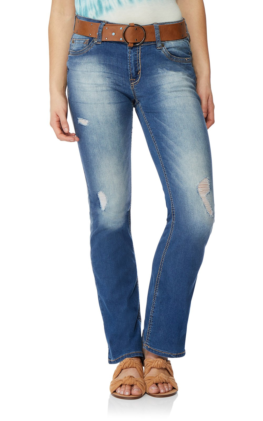 WallFlower Women's Juniors Belted Luscious Curvy Bootcut Jeans in Brodie, 3