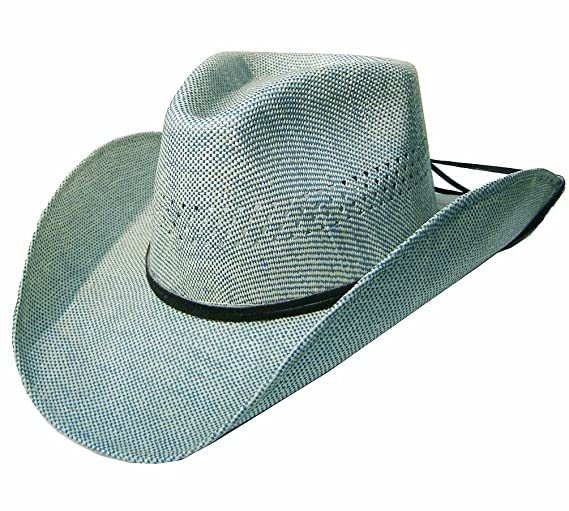 ecca1e4ff3362f Modestone Unisex Leather Hatband & Chinstring Straw Cowboy Hat Blue: Amazon.co.uk:  Clothing