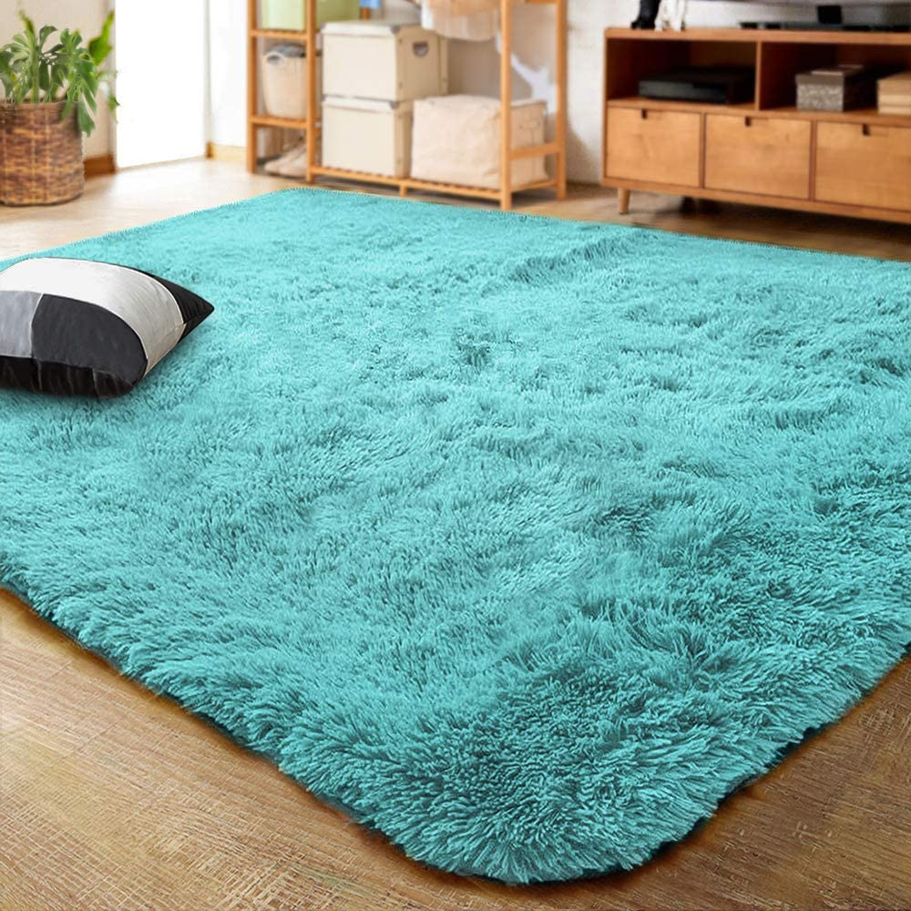 LOCHAS Luxury Velvet Fluffy Area Rug Modern Rugs for Bedroom Living Room,  Extra Soft and Comfy Carpet, Cute Color Plush Indoor Carpets for Kids,